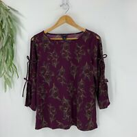 Ann Taylor Womens Pullover Blouse Cut Out Sleeves Bow Size S Purple Floral Shirt