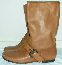 Nice Women's Size 5 Nine West Authentic Camel Brown Leather Slouchy Buckle Boots