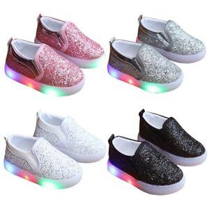 Kinder LED beleuchtet Sportschuhe Pailletten Sneaker Blinkschuhe Turnschuhe
