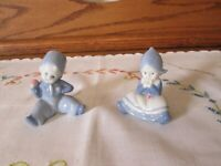 Vintage Blue & White Porcelain Dutch Boy and Girl Small Figurines