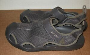 Crocs Swiftwater Mesh Deck Sandal 11 mens brown  205289 New closed toe water