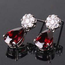 Charming stylish wedding garnet 18k white gold filled dangle earring