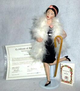 "Vintage 11"" KAIS American Artists signed Porcelain Flapper Doll orig box"