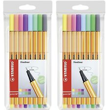 """STABILO Point 88 """"Pastel"""" Fineliner Pen - Assorted Colours - Packs of 8 x 2"""