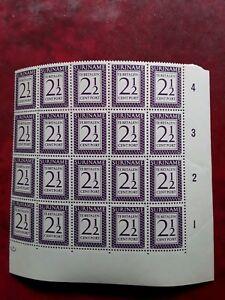 Suriname Postage Due block of 25 - 1956
