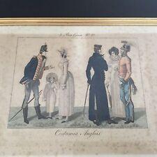 Gravure Ancienne XIXè 1827 Le Bon Genre 37x27cm Costume Anglais Antique Print