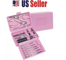 26pc PINK TOOL SET W/CASE BOX,SCREWDRIVER,BITS,PLIERS,WIRE,CUTTERS,TWEEZERS GIFT
