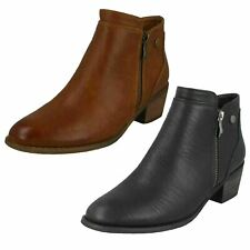 Ladies Black or Tan Spot OnMid Heeled Zip Up Ankle Boots : F5R1137