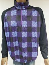 Nike Golf Mens XL Purple Black Plaid Windbreaker Jacket 1/4 Pullover Hood