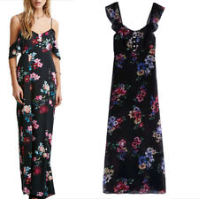 Gorgeous Black Floral Off the Shoulder Cut out Shoulder MAXI Dress Size