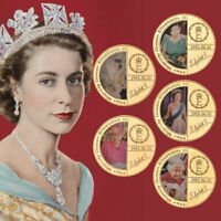 5pcs UK Queen Elizabeth II Gold Commemorative Coin In Gift Box For Collection