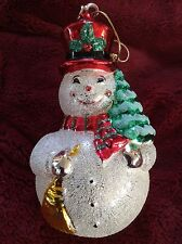 Exceptional Glass Jolly SNOWMAN Christmas ORNAMENT
