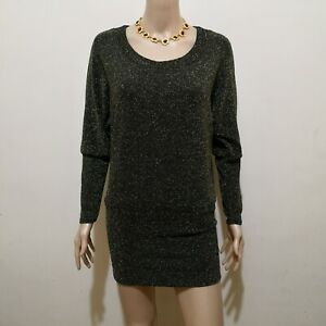 C448 - NB Black and Gold Stretchable Short Dress with Long Sleeves