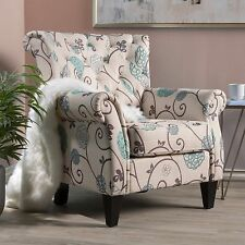 Solvang White & Blue Floral Tufted Fabric Roll Arms/Black Club Chair