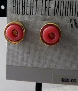 Robert Lee Morris Soho Coral Like Orange/Pink & Brass Tone Stud Button Earrings