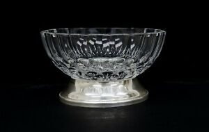 """Val St Lambert Crystal & Silverplate Base 4.5"""" Nut/Candy Bowl Italy C2593"""