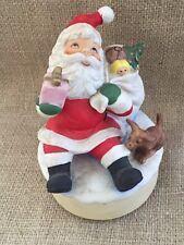 Vintage Santa And Puppy Porcelian Music Box Made In Japan