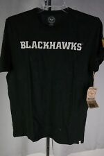NHL Chicago Blackhawks Men's Basic Tee Jet Black Large Sewn Letters  T3