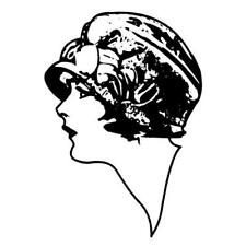 Lady Profile, art deco flapper woman lg. - unmounted rubber stamp #2