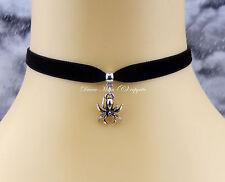Black Velvet Collar Choker/Necklace Spooky Spider Gothic/Halloween/Kitsch UK