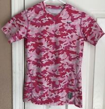 Nike Pro Fitted Athletic Pink Camouflage Short Sleeve T Shirt Girls Large