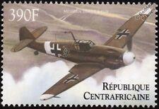 WWII Luftwaffe Messerschmitt Bf-109 Aircraft Stamp (2000 Central African Rep)