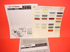 1957 PLYMOUTH BELVEDERE CONVERTIBLE FURY PLAZA SAVOY SUBURBAN PAINT CHIPS SW