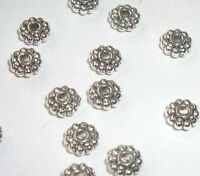 Antique silver plated pewter 6x3mm rondelle shaped spacer beads 100 pc (MB8966)