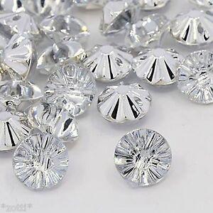 20 Clear Acrylic Rhinestone Crystal Buttons Elegant Bestseller 0 1/2in Sew DIY