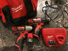 Milwaukee M12 Drill And Impact Driver Combo, Charger, Battery And Bag