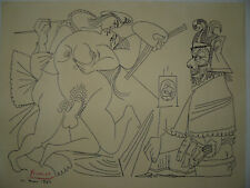 """Hand made drawing signed Picasso from the cycle """"Raphael, Fornarina and the Pope"""