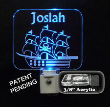 Personalized Pirate Ship LED Night Light, Handmade, multiple LED Colors, Lamp
