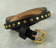 "NWT J. CREW Women's SKINNY GOLD STUDDED LEATHER BELT BLACK SIZE M 3/8""W"