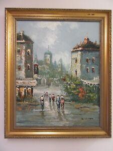 French Artist H.Lemon Oil Painting of a Paris Street scene