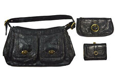 Stussy GEMINI Black Faux Patent Leather (D) Cosmetic Bag Cargo Purse & Wallet