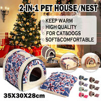 Foldable Pet Dog Cat Tent House Kennel Winter Warm Nest Puppy Sleeping Mat Pad