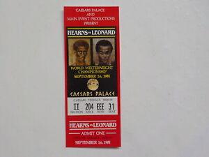 SUGAR RAY LEONARD vs THOMAS HEARNS I Boxing Ticket 1981 Caesars Palace Nevada