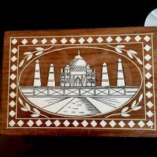 More details for beautiful vintage inlaid jewellery/trinket box indian carved hardwood taj mahal