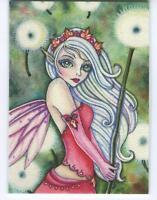 ACEO S/N L/E SPRING FAIRY GIRL GREEN EYES DANDELION FLOWER WISHES RARE ART PRINT
