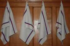 French Vintage Tea Dish Towel ~ Red Blue Stripe Heavy Linen Cotton Basque Fabric