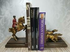 1937 Bronze Equestrian Jockey Horse Dogs Hunting Art Deco Sculpture Bookends