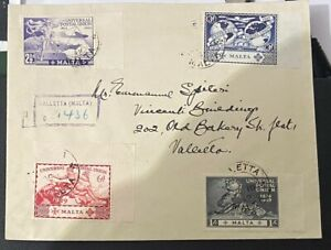 Malta 1949  First Day Cover Universal Postal Union UPU Valletta Registered