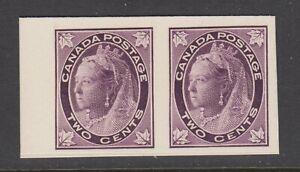 Canada Uni 68P MNG. 1897 2c purple QV Maple Leaf, horiz Proof pair on card, VF