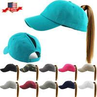Classic Cotton Ponycap Messy High Bun Ponytail Adjustable Baseball Cap Hat