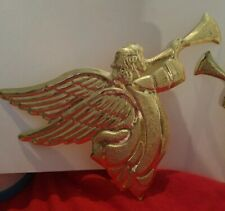 Pre Owned Set Of Trumpeting Christmas Angel Gold Colored Metal Wall Plaques
