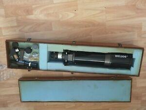 Helios telescope D102MM F500MM coated optics wooden box and tripod+ extra lenses