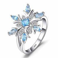 925 Sterling Silber Ring Aquamarin Edelstein Blume Schneeflocke Damen Geschenk.
