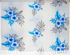Sarong . Pareo . Wickeltuch Tuch Strandkleid . Blumen . weiß blau hellblau . NEU