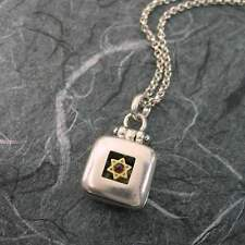 Star Of David Square Locket Sterling Silver Vermeil Garnet by Michael Bromberg