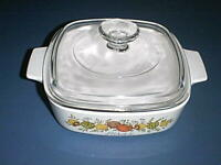 CORNING WARE 1 Qt Baking Dish L'Echalote A-1-B SPICE OF LIFE & Pyrex Lid A-7-C